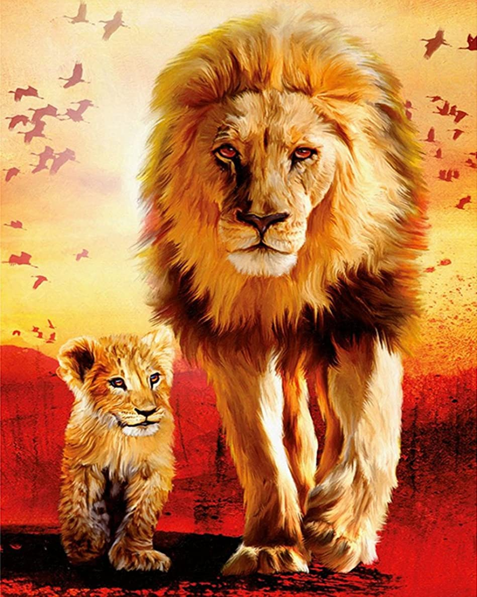 21secret 5D Diamond Diy Painting Full Drill Handmade Mighty Lion King and Cub Cross Stitch Home Decor Embroidery Kit