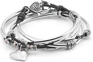 Double Love Hammered Heart Charm Wrap Bracelet in Natural Black Leather