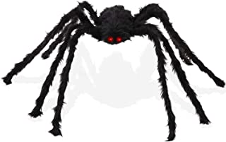 Knemksplanet Halloween Giant Spider-2 Pack 30 Inch Black Huge Hairy Halloween Scary Spider for Outdoor Yard Creepy Decor,Halloween Spider Photo Props,Halloween Party Supplies (Spider-Black)