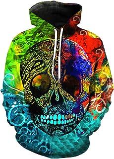 dandan Cráneo De Impresión De Color Adecuado para Adultos Pullover Sudaderas con Capucha Unisex Moda Green-XXXL