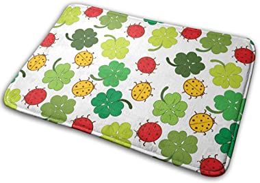 Ladybugs and Clover Leaves Carpet Non-Slip Welcome Front Doormat Entryway Carpet Washable Outdoor Indoor Mat Room Rug 15.7 X