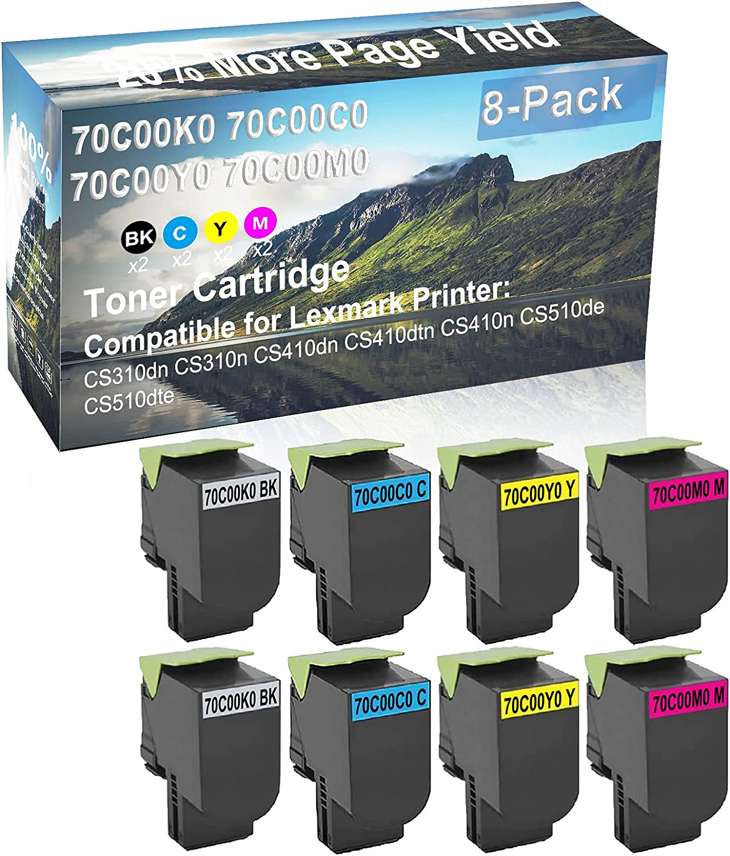 8-Pack (2BK+2C+2Y+2M) Compatible CS410dtn, CS410n Printer Toner Cartridge High Capacity Replacement for Lexmark 70C00K0+ 70C00C0+ 70C00Y0+ 70C00M0 Toner Cartridge