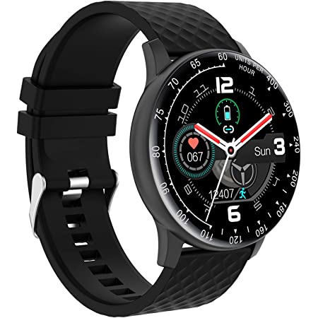 Smart Watch, Hongmed Fitness Watch with Blood Pressure Oxygen Monitor for Android Phones and iPhone Compatible, Waterproof Activity Tracker for Men and Women Black