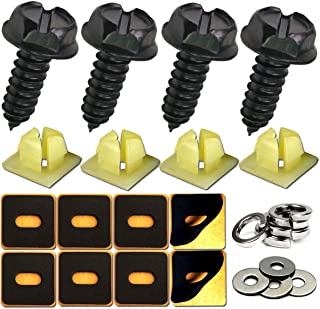 Black License Plate Screws- Never Rust Stainless Steel Screws Fasteners Front License Plates, Frames or Rear License Plate Cover on Domestic Cars and Trucks, Suitable for M6 License Plate Screws