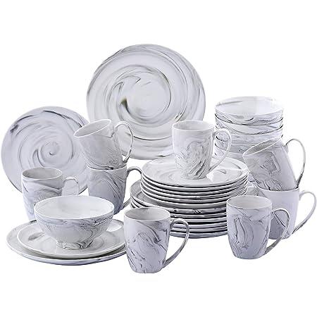 vancasso, série Clay, Service de Table Porcelaine Marbre, Service Vaiselle Complet 32 Pièces pour 8 Personnes, Assiette Plate Creuse, Bols Céréales, Tasse