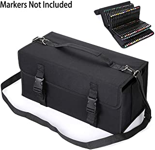 BTSKY New 171 Slots Marker Case Lipstick Organizer-Canvas Markers Holder for for Primascolor Markers and Copic Sketch Markers Black