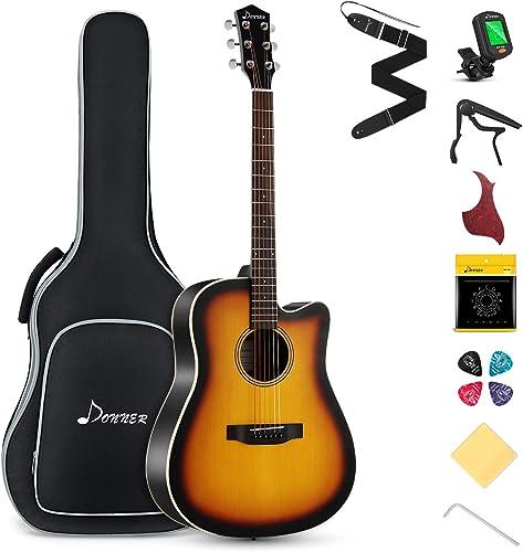 Donner Guitare Acoustique 4/4 Guitare Folk 41 Pouces pour Adultes Débutant Guitare Cutaway Kit avec Accordeur Corde S...