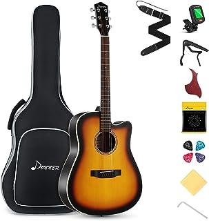 Donner Guitar Acoustic Full Size 4/4 Guitar Cutaway Beginner Adult Guitar 41 inch Kit with Gig Bag Tuner Strap Strings Capo Picks (Sunburst)