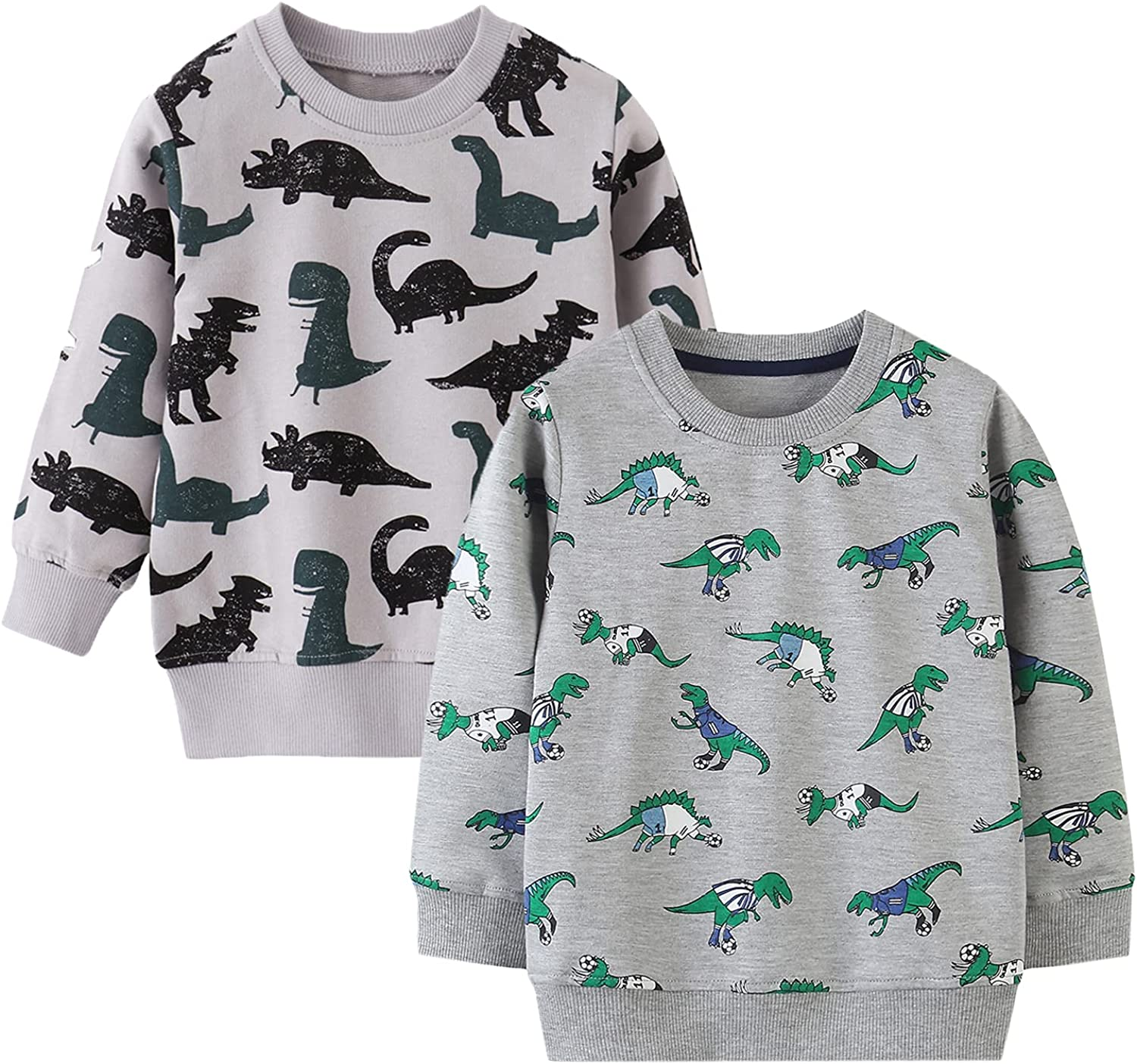 LeeXiang Toddler Boy 1Pack or 2Pack Sweatshirt, Kids Round Neck Cotton Pullover