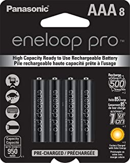 Panasonic BK-4HCCA8BA eneloop pro AAA High Capacity Ni-MH Pre-Charged Rechargeable Batteries, 8 Pack
