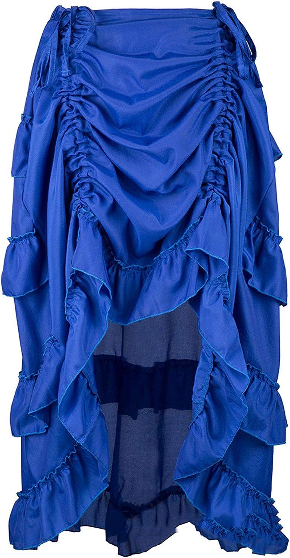 CHARTOU Women's Gothic Irregular Ruched Elastic Waist Hi-Low Layered Pleated Maxi Dance Skirt