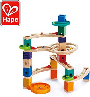 Hape Quadrilla Cliffhanger Wooden Marble Run | Marble Maze Run Set, Early Educational STEM Development Building Toys for Kids, Multicolor
