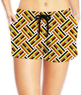 ウガンダの旗 サーフパンツ 水着 レディース ビーチショーツ 海水パンツ ショートパンツ 水陸両用 体型カバー メッシュインナー付き 吸汗速乾 ショート丈