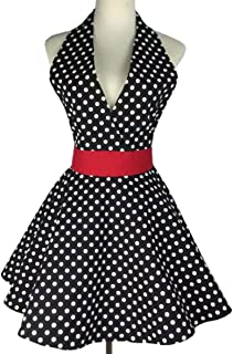 SMARTitns Aprons for Women Retro Vintage Cooking Aprons Plus Size with Extra Ties (black)