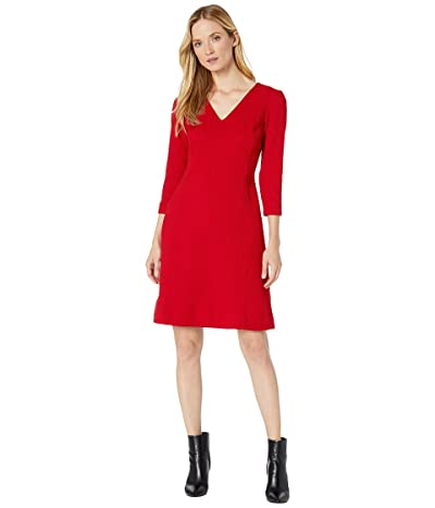 LAUREN Ralph Lauren Dobby Fit-and-Flare Dress (Parlor Red) Women