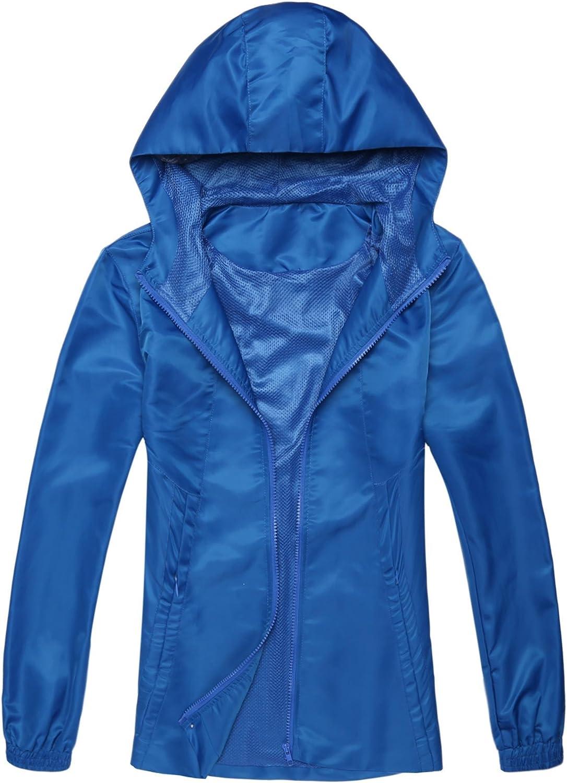 Soteer Women Waterproof Raincoat Outdoor Hooded Rain Jacket Windbreaker Sports Jacket