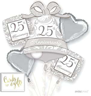 Andaz Press Balloon Bouquet Party Kit with Gold Cards & Gifts Sign, 25th Anniversary Silver Wedding Bell Foil Mylar Balloon Decorations, 1-Set