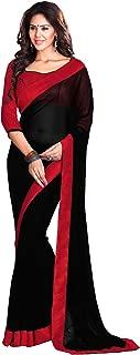 Mirchi Fashion Women's Faux Georgette Lace Work Wedding Party Wear Indian Saree