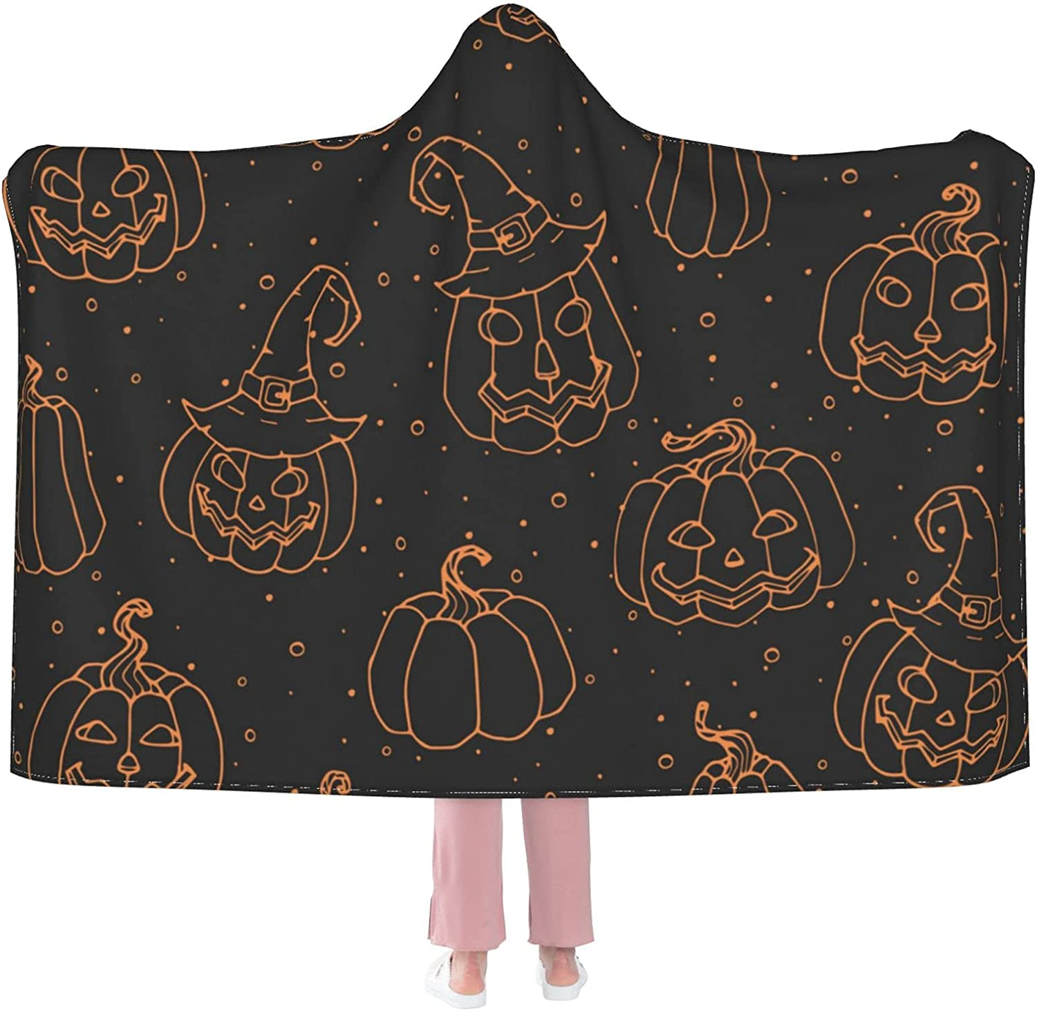 Miami Mall Sordiw Halloween Pumpkin Hooded Blanket S Soft Super for Max 44% OFF Flannel