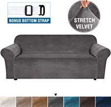 """H.VERSAILTEX Stretch Sofa Cover Velvet Couch Cover Sofa Slipcovers for Three Cushion Sofas Furniture Cover Thick Soft Form Fit Slip Resistant Slip Covers Machine Washable (Sofa 72""""-96"""", Grey)"""