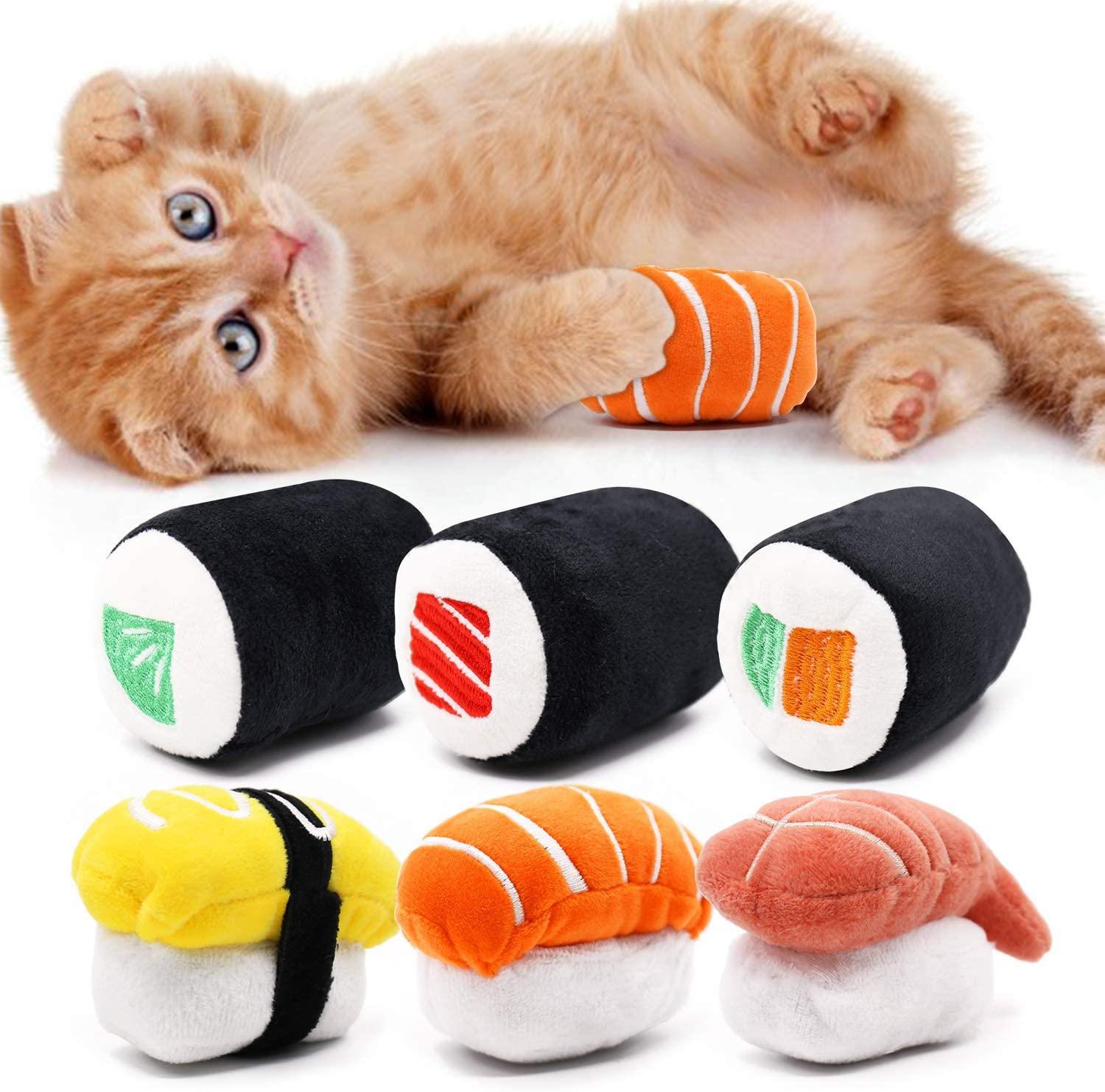 CiyvoLyeen 6 Pack Sushi Cat Toys Roll Catnip Free Shipping Cheap Bargain Gift Pillow with K Dallas Mall