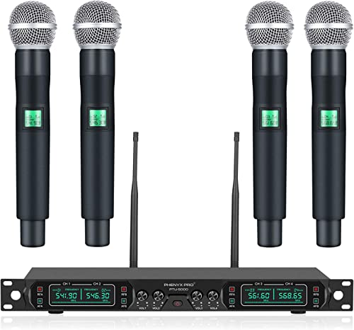 Wireless Microphone System, Phenyx Pro 4-Channel UHF Cordless Mic Set With Four Handheld Mics, All Metal Build, Fixed...