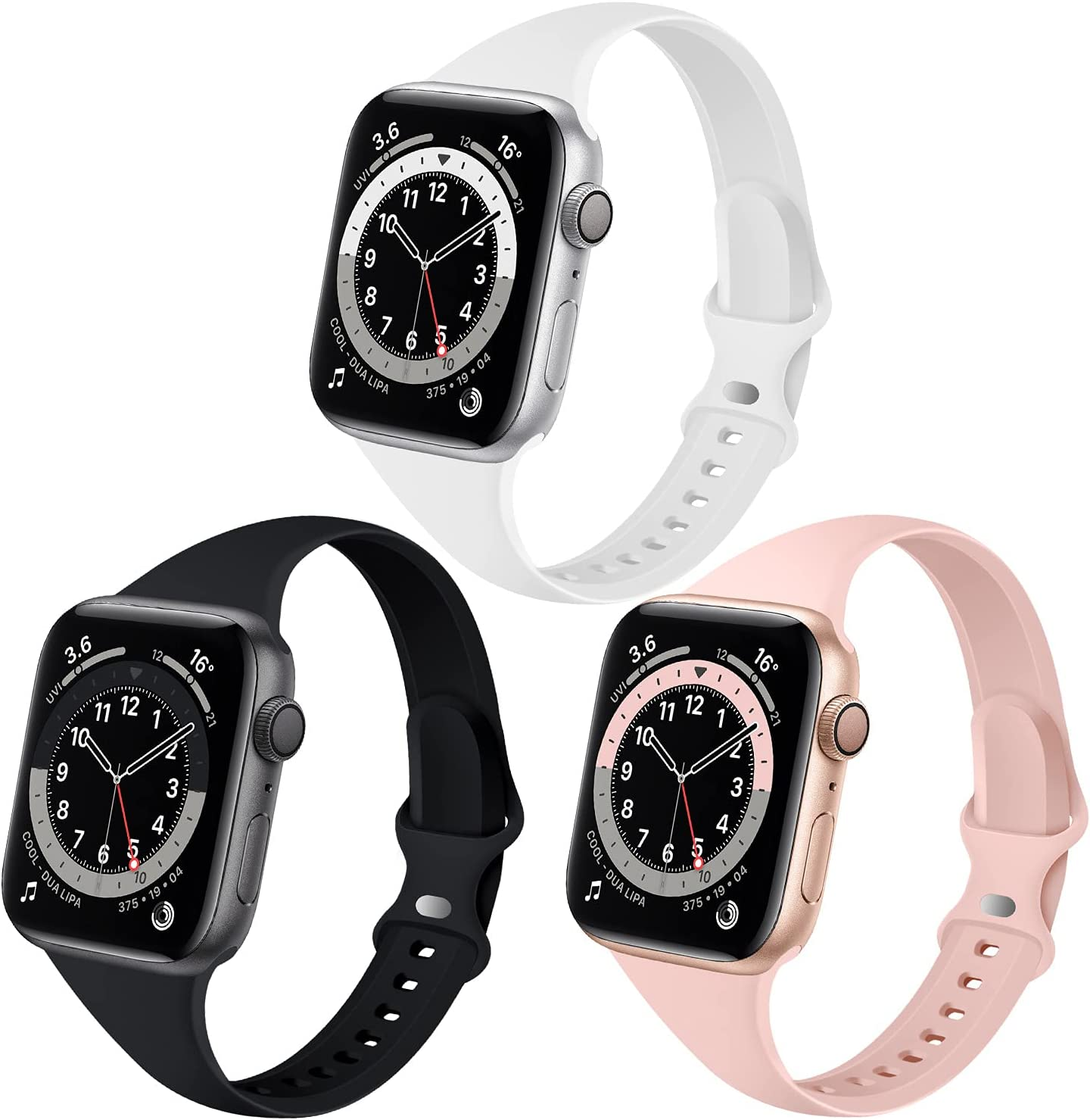 QRose Bands Compatible with Apple Watch 38mm 40mm, 3 Pack Slim Thin Narrow Replacement Silicone Sport Strap for iWatch Series SE 1/2/3/4/5/6, Black/White/Pink Sand 38mm/40mm
