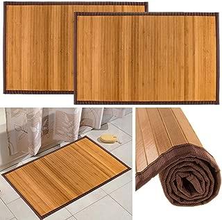 "Bamboo (2 Pack) Non Skid Water Resistant Bath Floor Mats Non Slip Shower Bathroom Rugs, 21"" x 34"""