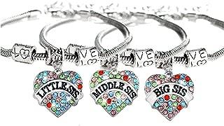 Shoopic Rhinestone Sister Bracelet Heart Friendship Bracelets for Women