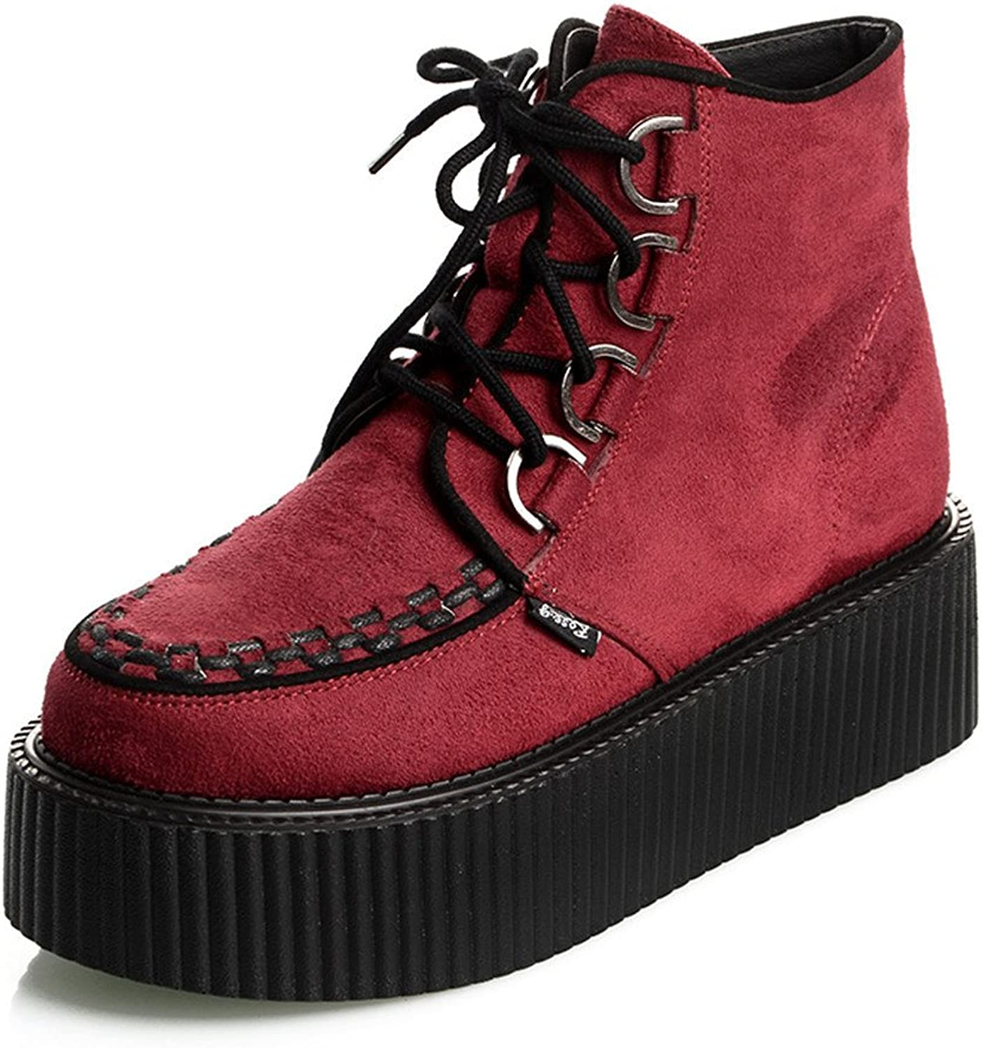 pinkG New Lace Up Suede High Top Flats Platform Creepers Boots