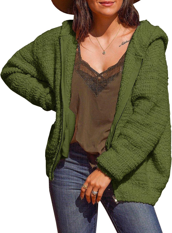 Womens Fuzzy Fleece Sweater Coat Zip Up Hooded Oversized Sherpa Fluffy Jacket Hoodies Coats with Pockets Warm