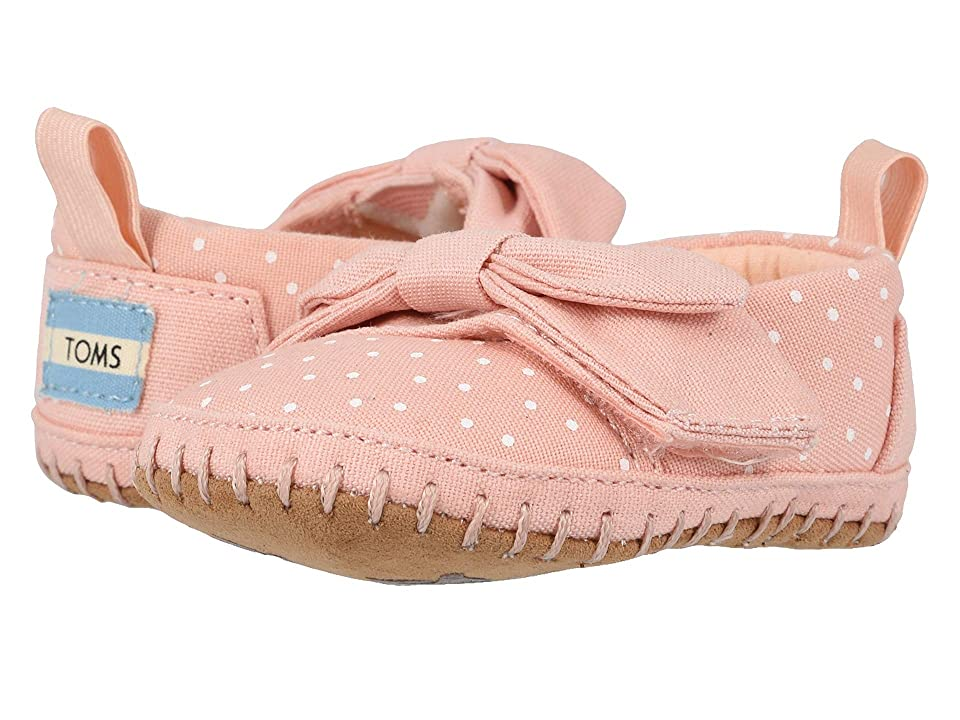 TOMS Kids Crib Alpargata (Infant/Toddler) (Pink Canvas/Polka Dots/Bow) Girl