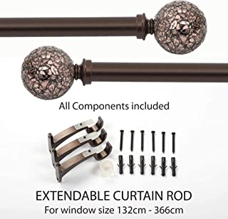 Deco Window 1 Inch Adjustable Brown Curtain Rod for Windows Curtains with Decorative Round Mosaic Finials & Brackets Set - 52
