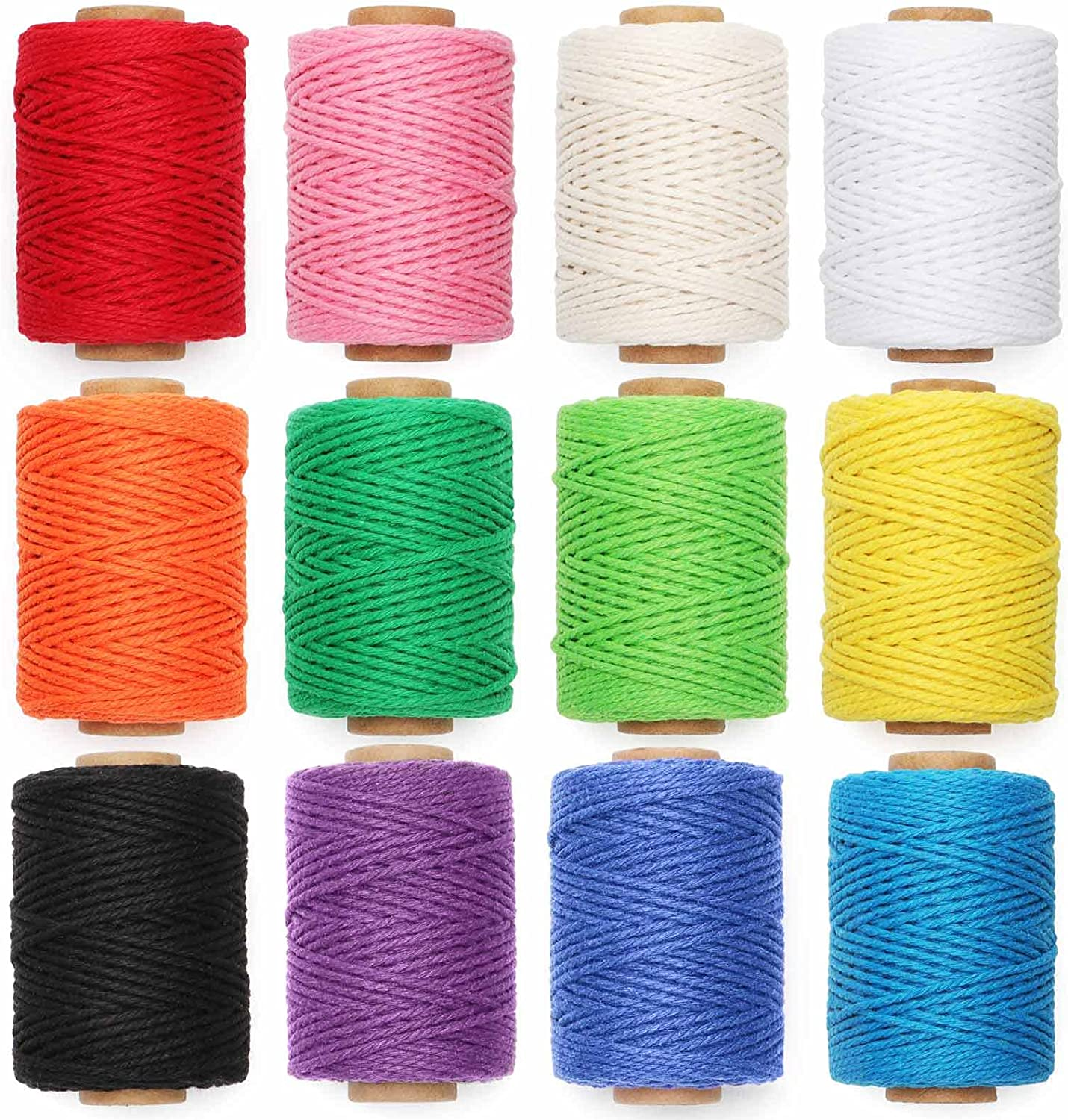 HULISEN 12 Rolls Macrame Cord Natural Colourful 3mm Max 54% OFF Twine Rope favorite