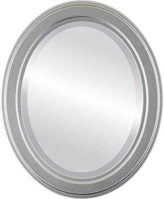 Oval Beveled Wall Mirror for Home Decor - Wright Style - Silver Spray - 24x28 Outside Dimensions
