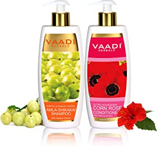 Amla with Shikakai and Reetha Shampoo and Corn Rose Conditioner - ★ Hair Fall and Damage Control Shampoo - ★ ALL Natural - ★ Paraben Free - ★ Sulfate Free - ★ Scalp Therapy - ★ Moisture Therapy - ★ Suitable for All Hair Types - Each Pack of 350ml - Each 11.8 Oz - Vaadi Herbals