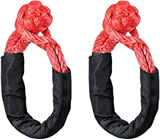 2X Black Red Soft Shackle Rope Synthetic 38,000 lbs Breaking Strength- WLL 15,000 Winch Rope 3/8