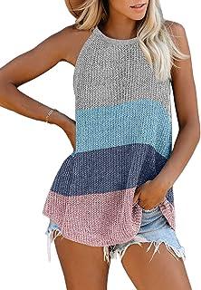 Women's Summer Scoop Neck Knit Cami Tank Tops Loose Sleeveless Blouse Shirts