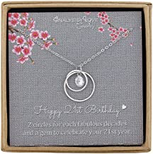 AnalysisyLove 21st Birthday Gifts for Her, Sterling Silver Infinity 2 Circle Necklace for Daughter Birthday Gift