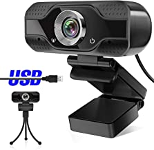 Webcam with Microphone,1080P HD Webcam Desktop or Laptop, Streaming Webcam for Computer Widescreen Video Calling and Recording, USB Web Camera Built-in Mic, Flexible Rotatable Clip and Tripod (1080P)