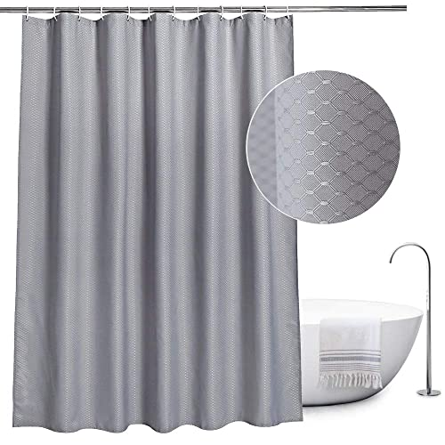 EurCross Fabric Shower Curtain Grey Mould Proof And Water Repellent Waffle For Bathroom