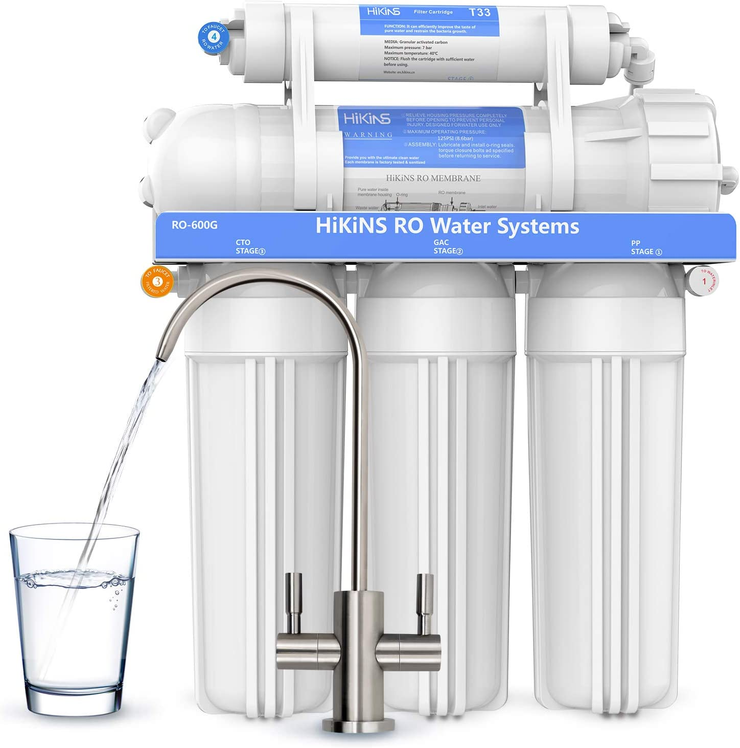 HiKiNS Reverse Osmosis Water Filtration System Cheap mail order sales H 600GPD Tankless National products