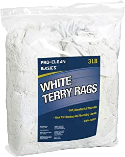 Pro-Clean Basics White Terry Cloth Rags: 3 lb. Bag