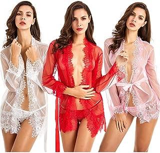 Mesh Lace Kimono Lingerie –Babydoll Nightgown Robe Mesh Thong & Waistband