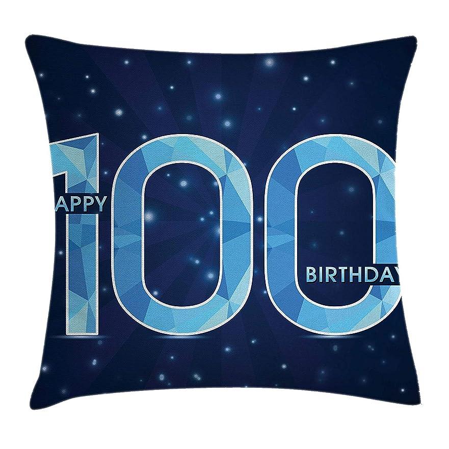 ビスケット衛星便利100th Birthday Decorations Throw Pillow Cushion Cover, Happy Birthday Old Grandparents Century Party Image, Decorative Square Accent Pillow Case, 18 X 18 Inches, Sky Blue and Navy Blue