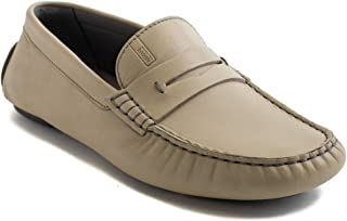 Collezioni Men's Leather Loafer Driving Shoes Beige