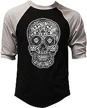 Men's White Sugar Skull Diamond Eyes Black/Gray Raglan Baseball T-Shirt Black/Gray