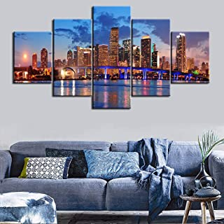 Large 5 Piece Canvas Wall Art for Living Room- Miami City Skyline Panorama at Dusk with Urban Skyscrapers and Bridge Over Sea - Modern Home Decor Stretched and Framed Ready to Hang - 60