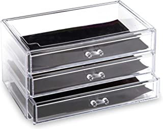 BINO 3 Drawer Acrylic Jewelry and Makeup Organizer, Clear Cosmetic Organizer Vanity Storage Display Box Make Up Organizers...