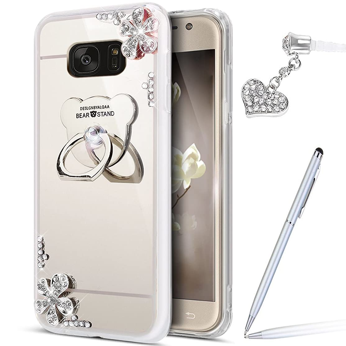 ikasus Galaxy S7 Case,Galaxy S7 Mirror Case, Inlaid Diamond Flowers Slim Rhinestone Diamond Glitter Bling Mirror Back TPU Case with Bear Ring Stand Holder +Touch Pen Dust Plug for Galaxy S7,Silver